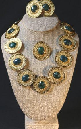 Malachite Mounted Vintage Costume Jewelry Grouping