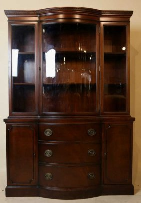 Mahogany Bow Center China Cabinet