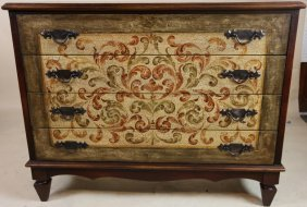 Contemporary Paint Decorated Chest Of Drawers