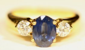 18kyg Ceylon Sapphire & Diamond Ring