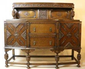 English Antique Oak Jacobean Side Board