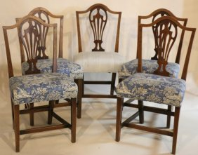 Antique Mahogany Chair Set Of Five