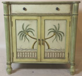Faux Paint Decorated Tropical Side Chest