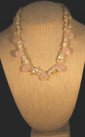 Vintage Rose Quartz / Silver Necklace