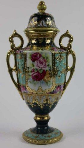 Antique Nippon Jeweled Twin Handeled Vase