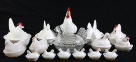 Depression Era Large Covered Rooster Grouping