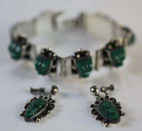 Mexican Sterling Silver Bracelet & Earrings