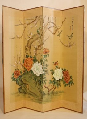 Japanese Mid-century Hand Painted Floor Screen