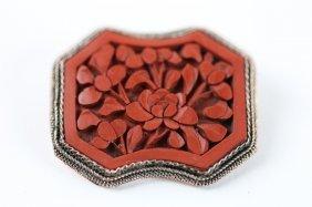 Chinese Cinnabar Antique Pin