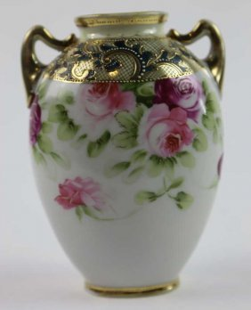 Antique Nippon Twin Handled Jeweled Vase