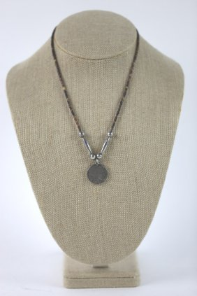 Native American Sterling Silver Coin Necklace