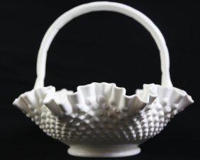 Depression Era Large Hobnail Milkglass Basket