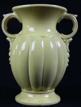 Mccoy Canary Twin Handled Pottery Vase