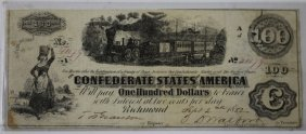 Richmond Va 1862 Confederate $100 Note
