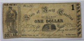 Nc Rare 1866 $1 Treasury Overprint Note