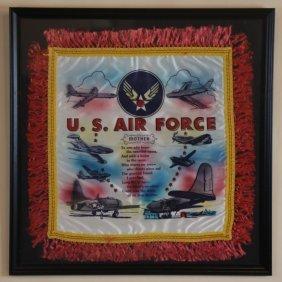 U. S. Air Force Vintage Framed & Fringe Textile