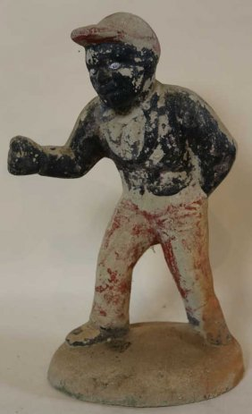 Antique Cast Cement Hand Painted Lawn Jockey