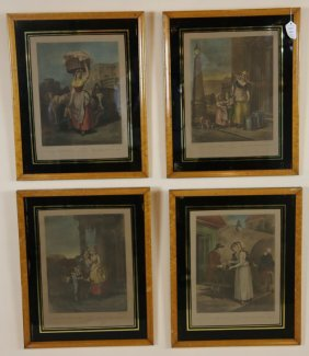 Four Antique Colored Book Plate Engravings