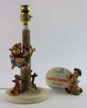 Hummel Vintage Lamp And Figurine