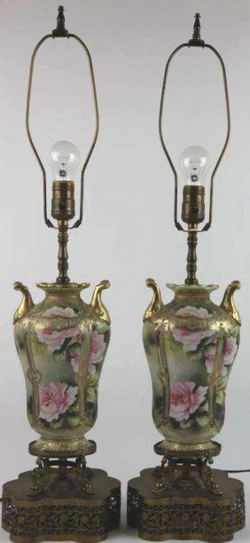 Antique Nippon Floral Lamps