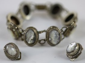 Antique Mother Of Pearl Cameo Bracelet & Earrings