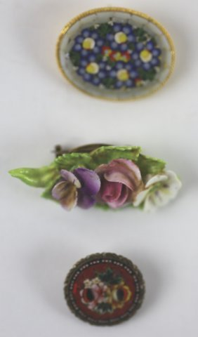 Antique Porcelain & Glass Millefiori Pin Grouping
