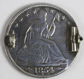 1854 Sterling Silver Coin Belt Buckle