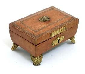 A Regency Gold Tooled Leather Covered Small Sewing Box