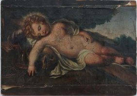 XVIII Oil On Canvas Cherub As Christ Lying With Huma