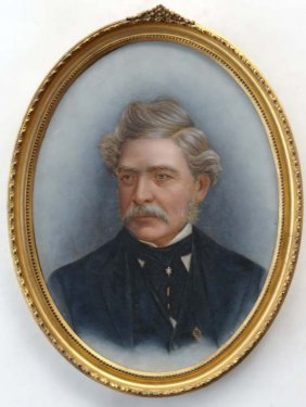 XIX Oil On Board, An Oval Portrait Of A Moustached G