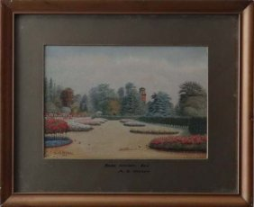 Alf S. Watson 1926 Watercolour 'Rose Garden, Kew'  S