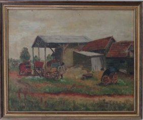 Late XIX English School Oil On Canvas A Farmyard 16