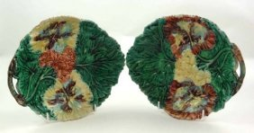 Two Majolica Polychrome Serving Dishes Moulded Wit