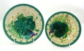 Two Graduated Majolica Polychrome Plates Moulded W