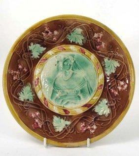 An Art Nouveau Polychrome Majolica Plate Depicting