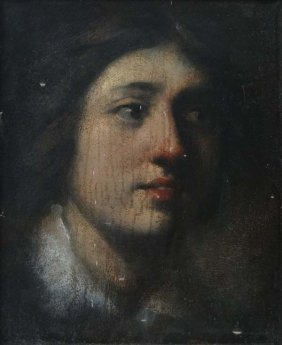 XVIII/XIX Oil On Board Portrait Of A Young Male Indisti