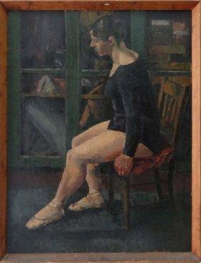 British School Mid XX Oil On Board The Seated Ballet Da
