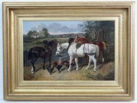 J F Herring Xix, Oil On Canvas, Three Working Horses
