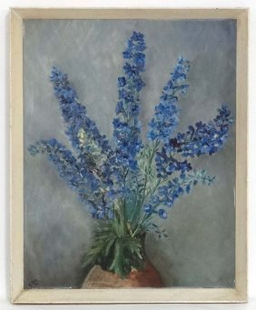 M Moir 1958, Oil On Artist's Board, Still Life Of Blue