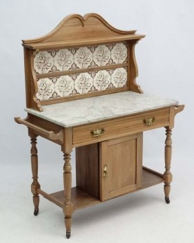A Victorian Deal Tile Back Washstand With Grey Veined