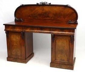 A Victorian Mahogany Twin Pedestal Sideboard 63 1/2''