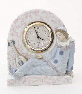 A Lladro Clock '' Pierrot '' Modelled As A Clown With