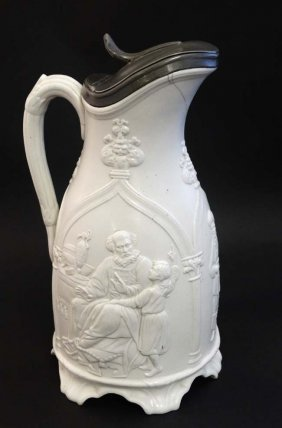 A C1848 T & R Boote Pewter Lidded White Jug, The Sides