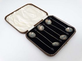 A Cased Set Of 6 Silver Coffee Spoons With Coffee Bean