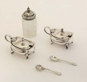 A Pair Of Silver Plated Mustard Pots By Walker And Hall