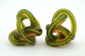 An Unusual Pair Of 20thc Glass Paperweights Formed As