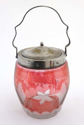 An Early 20thc Glass Biscuit Barrel With Silver Plated