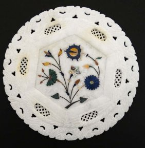 A 19thc Indian Alabaster Inlaid Circular Plaque With