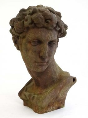 Cast Iron Bust : A Larger Than Life Size Cast Iron Bust
