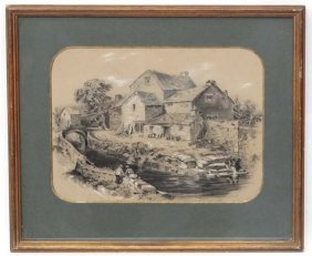Xix English School Charcoal And Chalk Cottage And